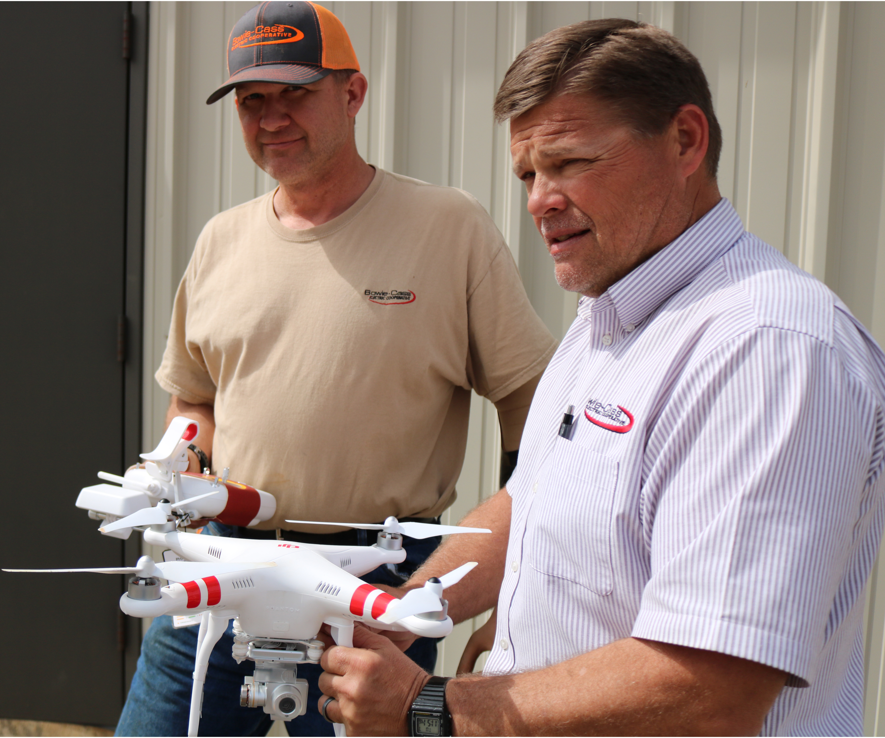 Monte Simpson and Greg Russell demonstrate the drone.
